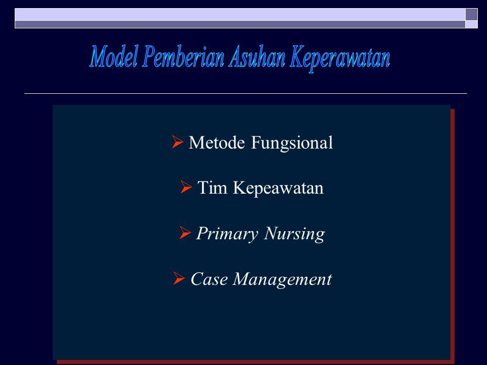  Metode Fungsional  Tim Kepeawatan  Primary Nursing  Case Management  Metode Fungsional  Tim Kepeawatan  Primary Nursing  Case Management