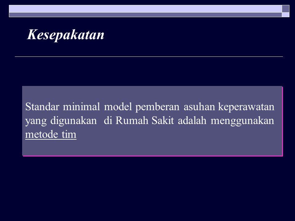 Kesepakatan Standar minimal model pemberan asuhan keperawatan yang digunakan di Rumah Sakit adalah menggunakan metode tim Standar minimal model pember