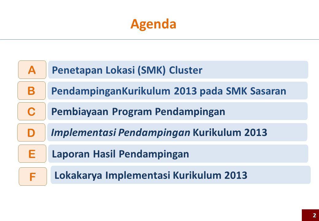 Agenda 2 PendampinganKurikulum 2013 pada SMK Sasaran B Pembiayaan Program Pendampingan C Implementasi Pendampingan Kurikulum 2013 D Penetapan Lokasi (
