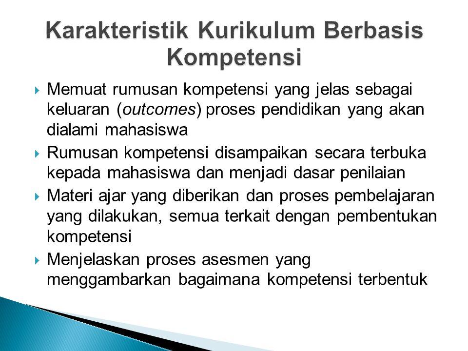  Memuat rumusan kompetensi yang jelas sebagai keluaran (outcomes) proses pendidikan yang akan dialami mahasiswa  Rumusan kompetensi disampaikan seca