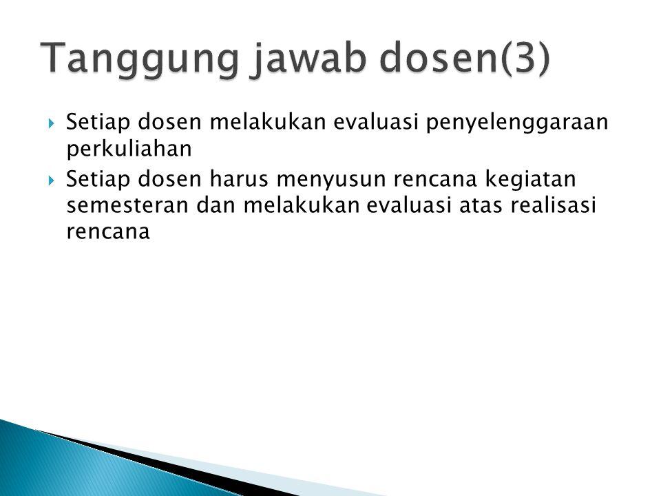  Setiap dosen melakukan evaluasi penyelenggaraan perkuliahan  Setiap dosen harus menyusun rencana kegiatan semesteran dan melakukan evaluasi atas re