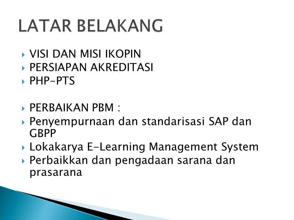  VISI DAN MISI IKOPIN  PERSIAPAN AKREDITASI  PHP-PTS  PERBAIKAN PBM :  Penyempurnaan dan standarisasi SAP dan GBPP  Lokakarya E-Learning Managem