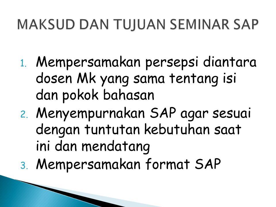 1. Mempersamakan persepsi diantara dosen Mk yang sama tentang isi dan pokok bahasan 2. Menyempurnakan SAP agar sesuai dengan tuntutan kebutuhan saat i
