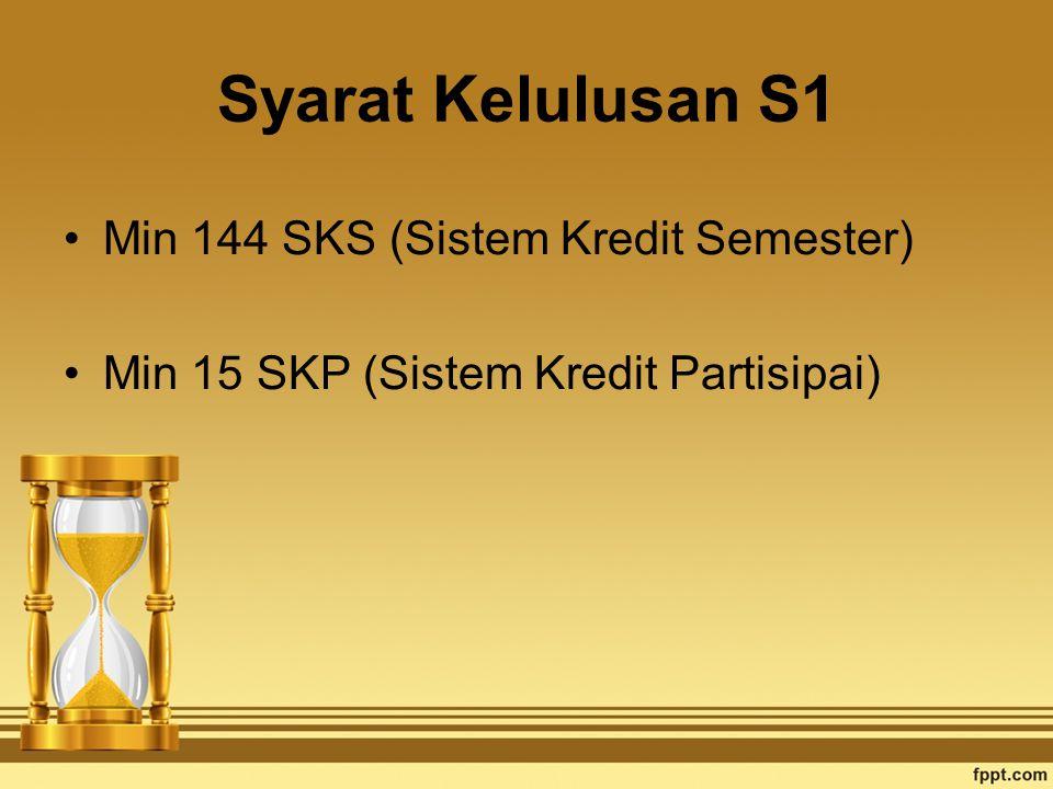 Syarat Kelulusan S1 Min 144 SKS (Sistem Kredit Semester) Min 15 SKP (Sistem Kredit Partisipai)