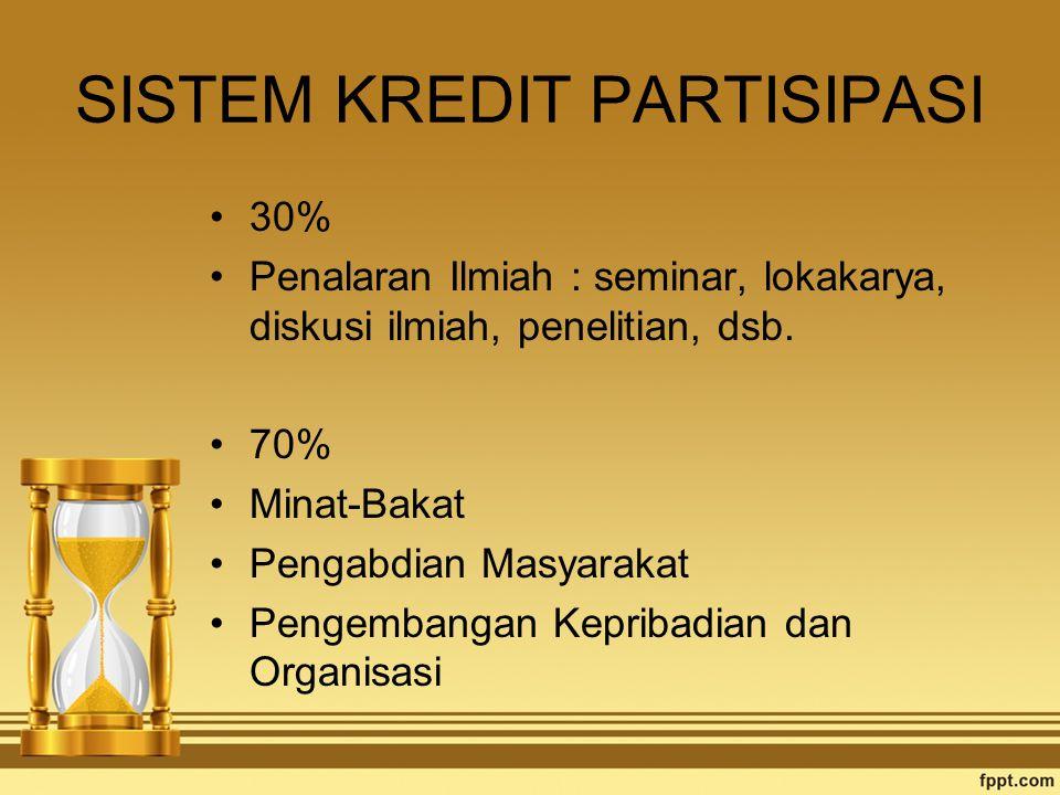 SISTEM KREDIT PARTISIPASI 30% Penalaran Ilmiah : seminar, lokakarya, diskusi ilmiah, penelitian, dsb. 70% Minat-Bakat Pengabdian Masyarakat Pengembang