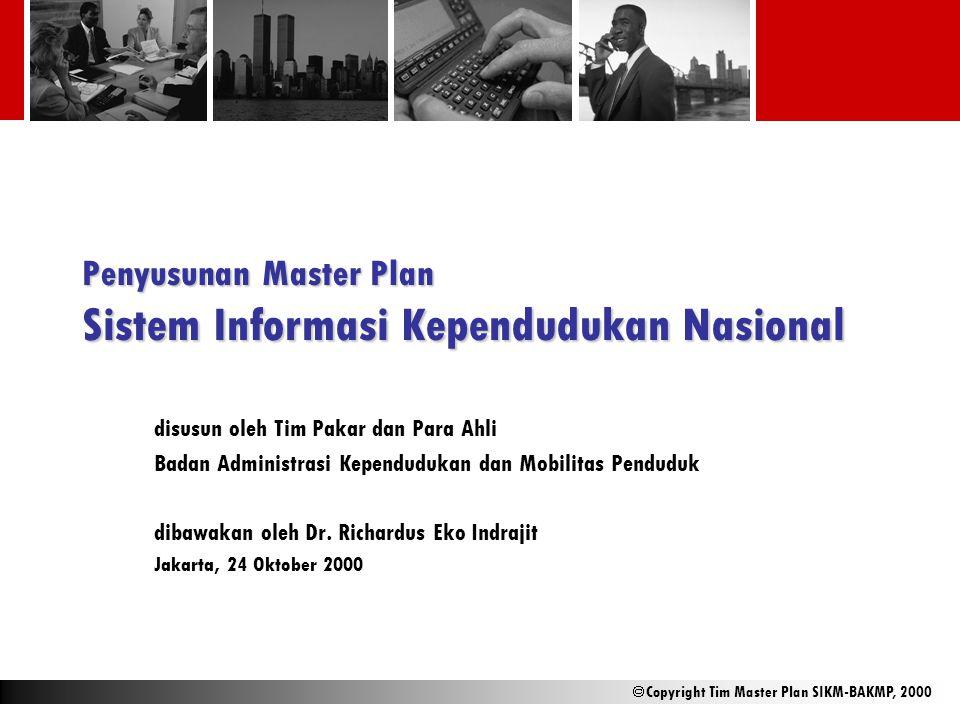  Copyright Tim Master Plan SIKM-BAKMP, 2000 Penyusunan Master Plan Sistem Informasi Kependudukan Nasional disusun oleh Tim Pakar dan Para Ahli Badan
