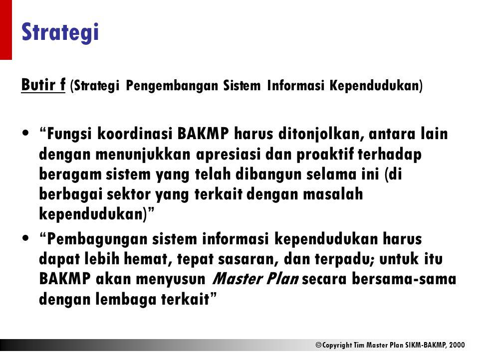 " Copyright Tim Master Plan SIKM-BAKMP, 2000 Strategi Butir f (Strategi Pengembangan Sistem Informasi Kependudukan) ""Fungsi koordinasi BAKMP harus dit"