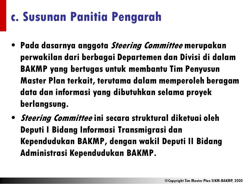  Copyright Tim Master Plan SIKM-BAKMP, 2000 c. Susunan Panitia Pengarah Pada dasarnya anggota Steering Committee merupakan perwakilan dari berbagai D