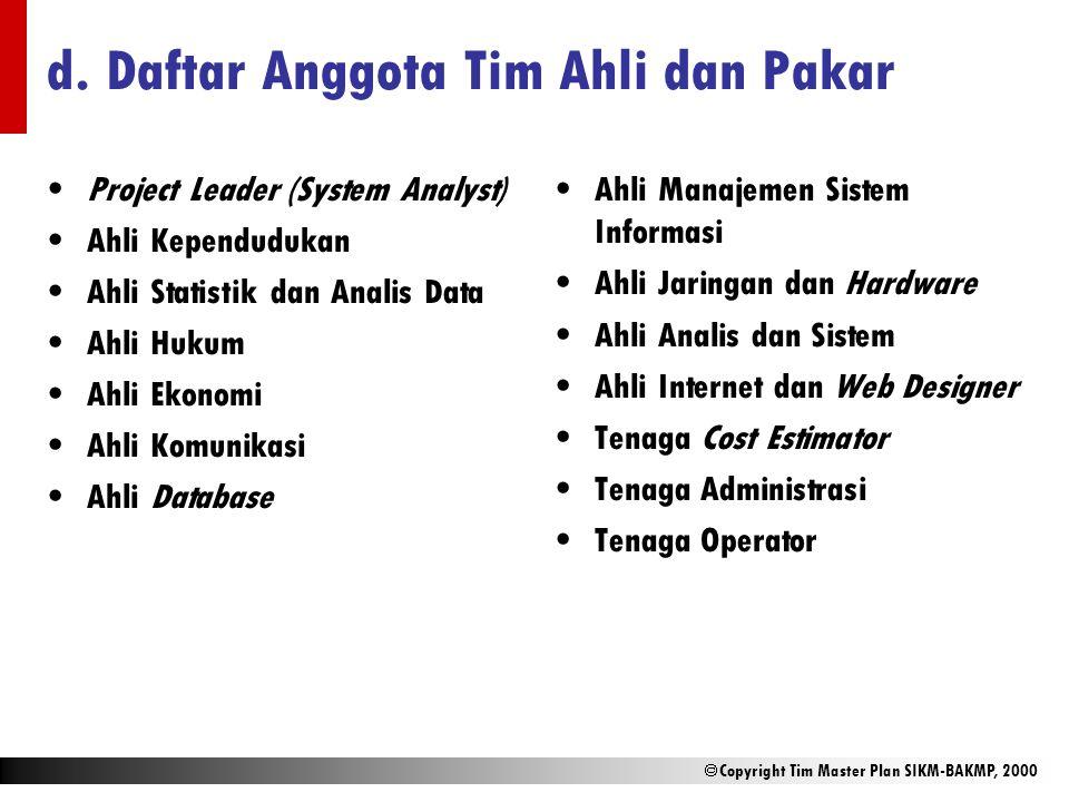  Copyright Tim Master Plan SIKM-BAKMP, 2000 d. Daftar Anggota Tim Ahli dan Pakar Project Leader (System Analyst) Ahli Kependudukan Ahli Statistik dan