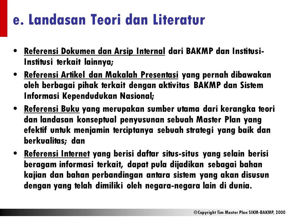  Copyright Tim Master Plan SIKM-BAKMP, 2000 e. Landasan Teori dan Literatur Referensi Dokumen dan Arsip Internal dari BAKMP dan Institusi- Institusi