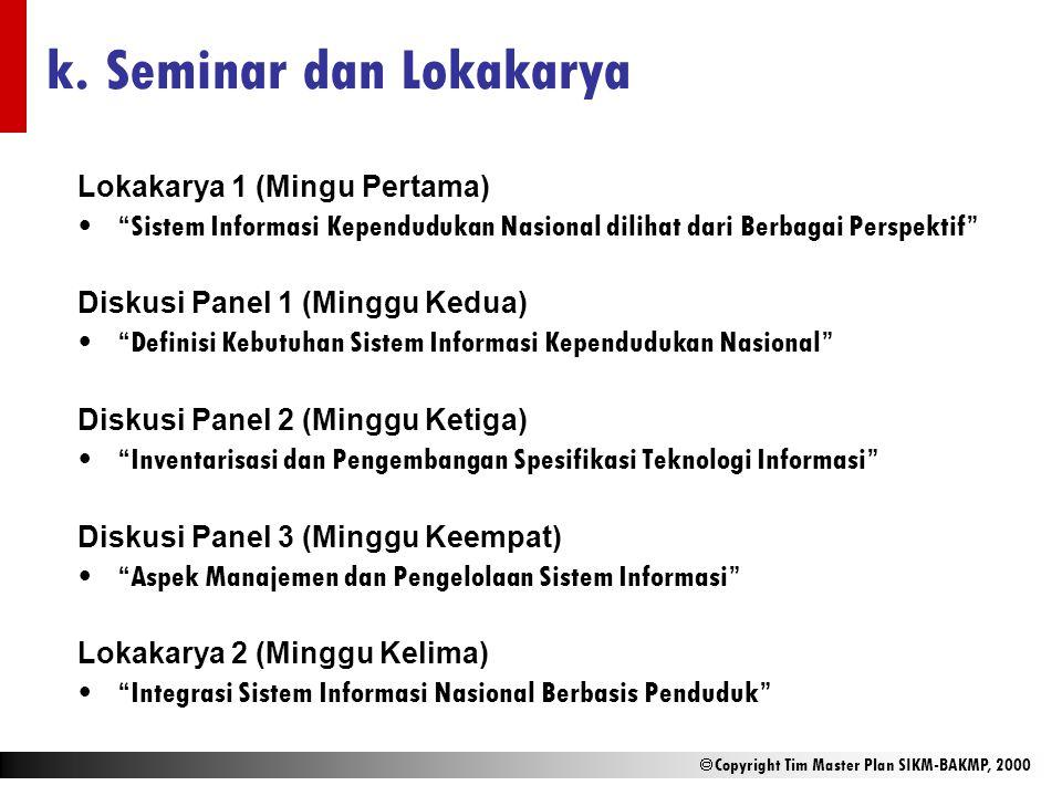 """ Copyright Tim Master Plan SIKM-BAKMP, 2000 k. Seminar dan Lokakarya Lokakarya 1 (Mingu Pertama) """"Sistem Informasi Kependudukan Nasional dilihat dari"""