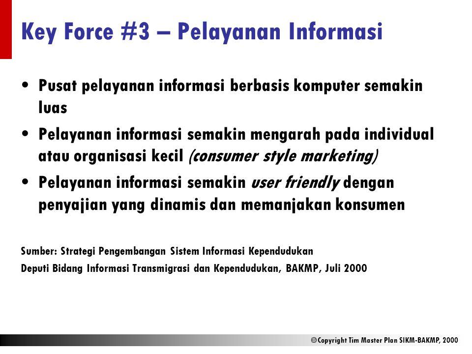  Copyright Tim Master Plan SIKM-BAKMP, 2000 Key Force #3 – Pelayanan Informasi Pusat pelayanan informasi berbasis komputer semakin luas Pelayanan inf