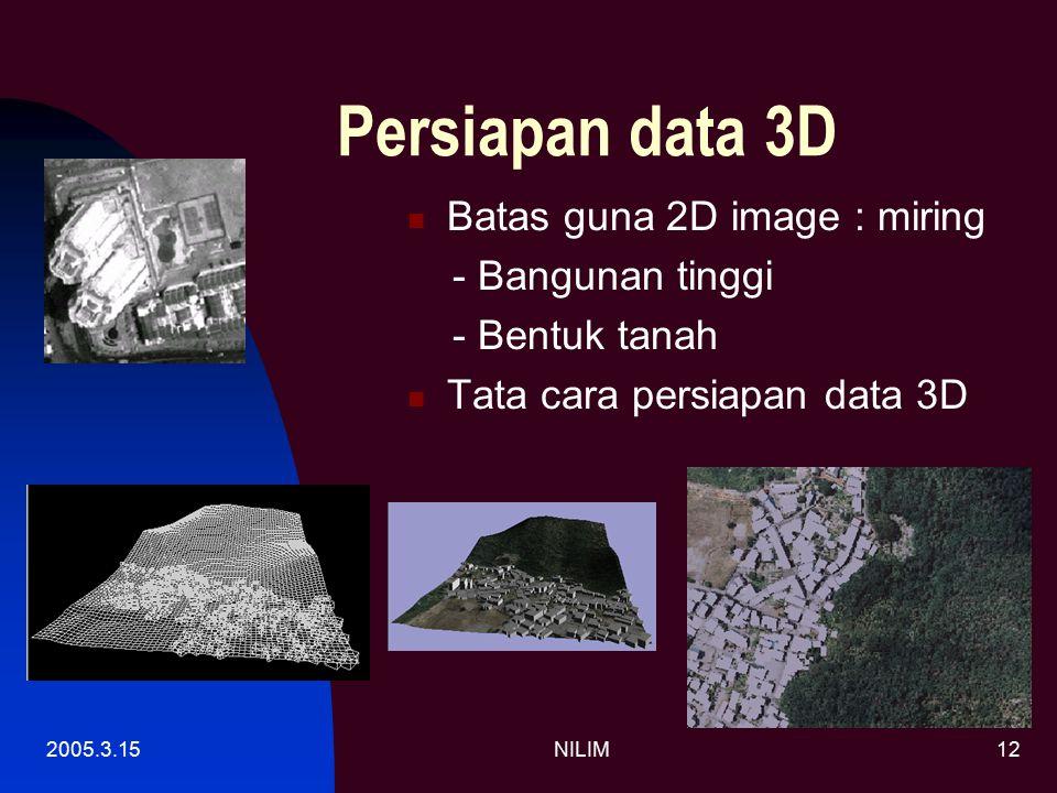 2005.3.15NILIM12 Persiapan data 3D Batas guna 2D image : miring - Bangunan tinggi - Bentuk tanah Tata cara persiapan data 3D