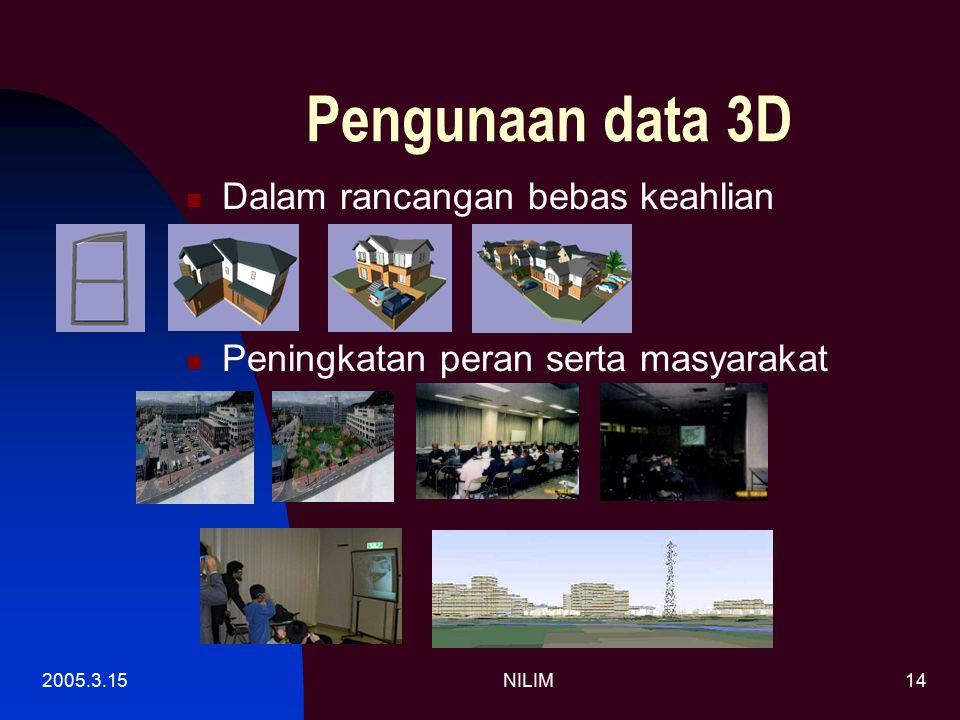 2005.3.15NILIM14 Pengunaan data 3D Dalam rancangan bebas keahlian Peningkatan peran serta masyarakat