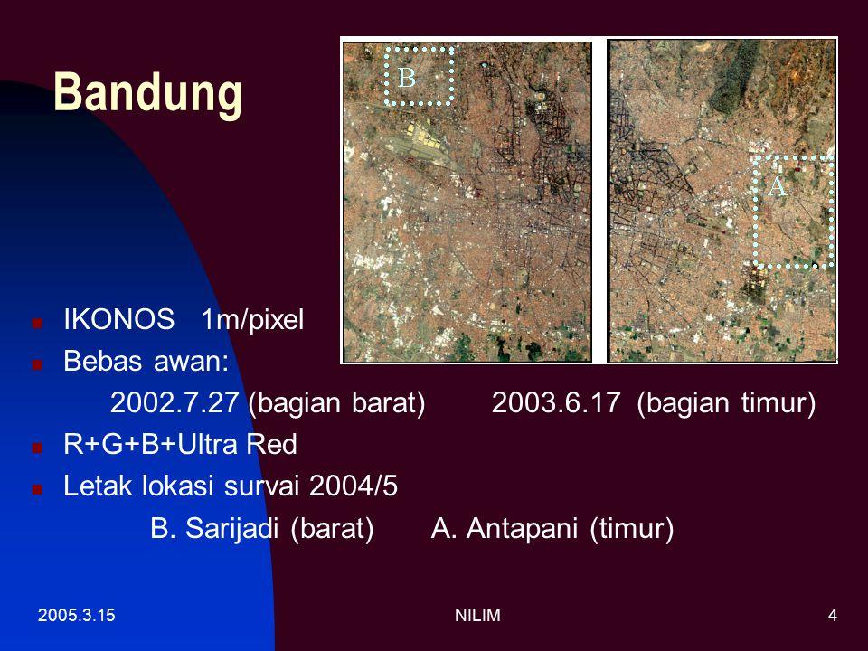 2005.3.15NILIM4 Bandung IKONOS 1m/pixel Bebas awan: 2002.7.27 (bagian barat) 2003.6.17 (bagian timur) R+G+B+Ultra Red Letak lokasi survai 2004/5 B.