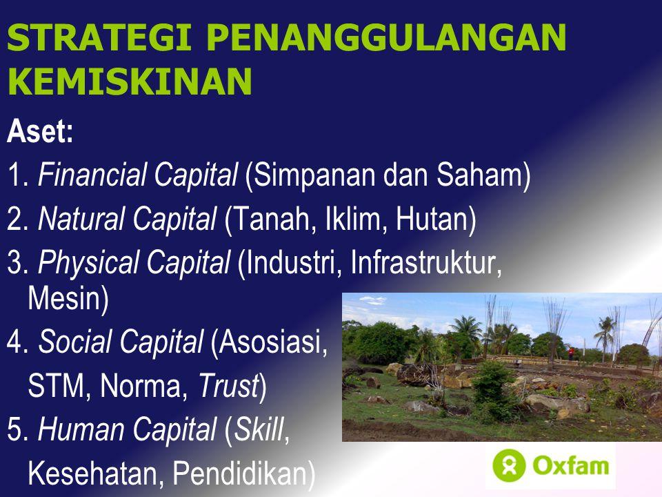 Aset: 1. Financial Capital (Simpanan dan Saham) 2. Natural Capital (Tanah, Iklim, Hutan) 3. Physical Capital (Industri, Infrastruktur, Mesin) 4. Socia