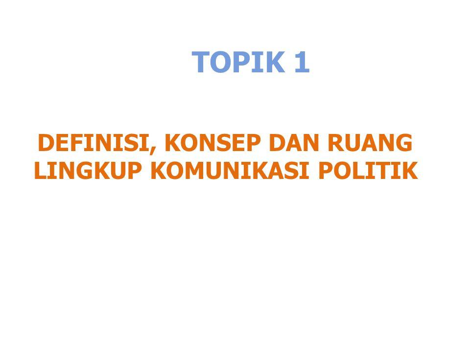 TOPIK 1 DEFINISI, KONSEP DAN RUANG LINGKUP KOMUNIKASI POLITIK