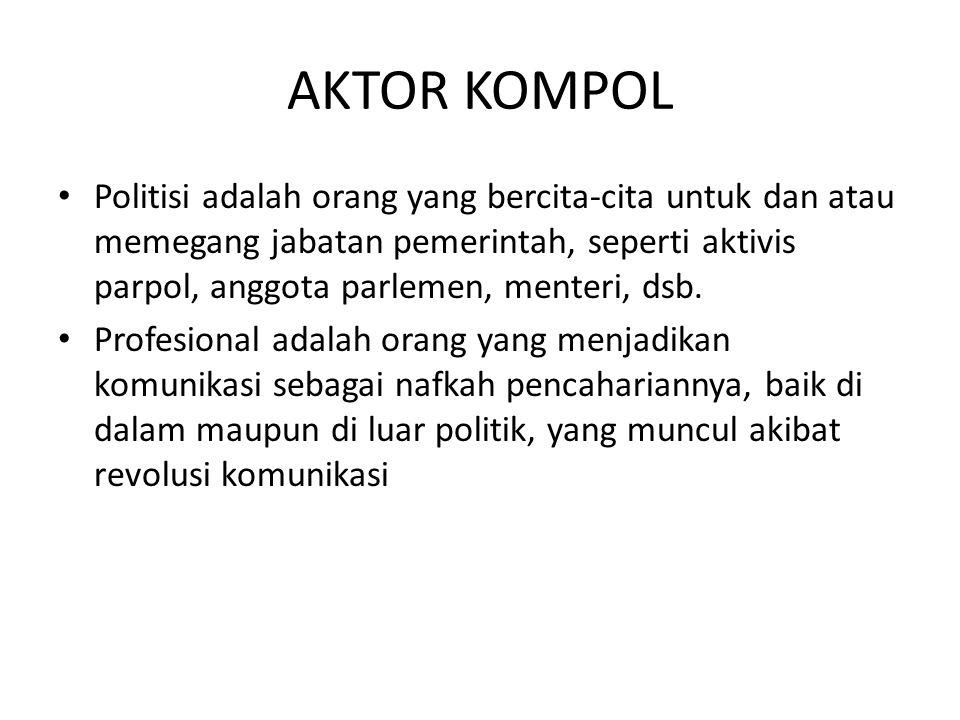 AKTOR KOMPOL Politisi adalah orang yang bercita-cita untuk dan atau memegang jabatan pemerintah, seperti aktivis parpol, anggota parlemen, menteri, dsb.
