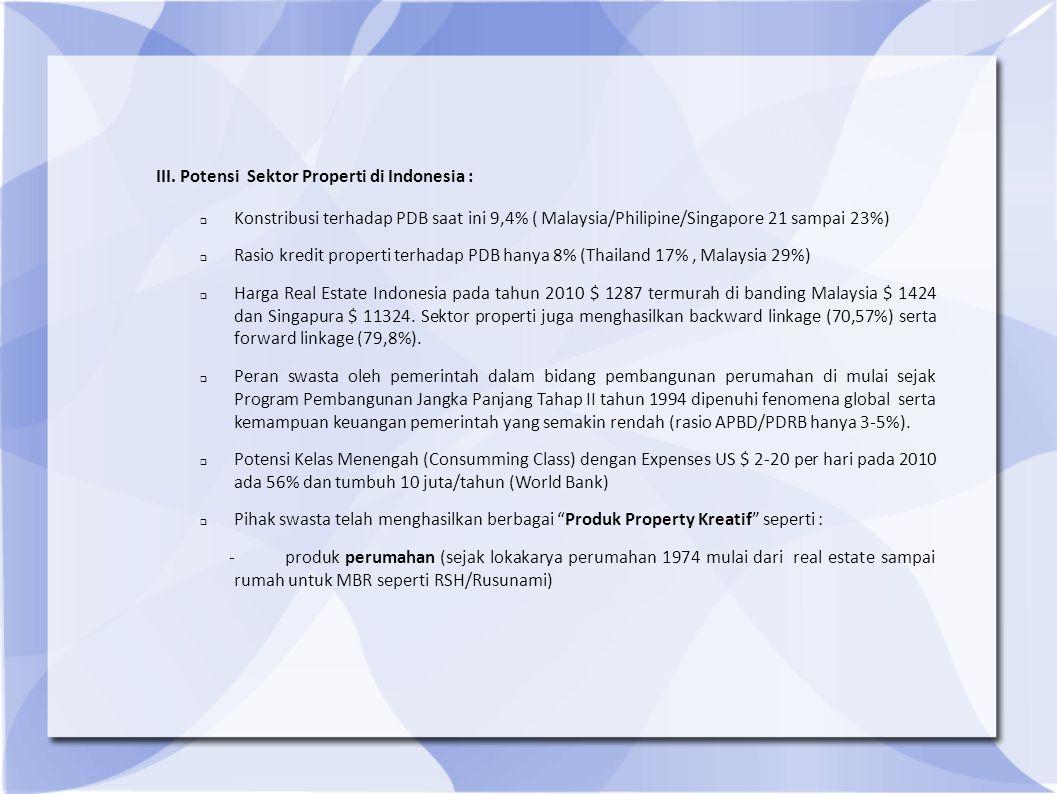 III. Potensi Sektor Properti di Indonesia :  Konstribusi terhadap PDB saat ini 9,4% ( Malaysia/Philipine/Singapore 21 sampai 23%)  Rasio kredit prop