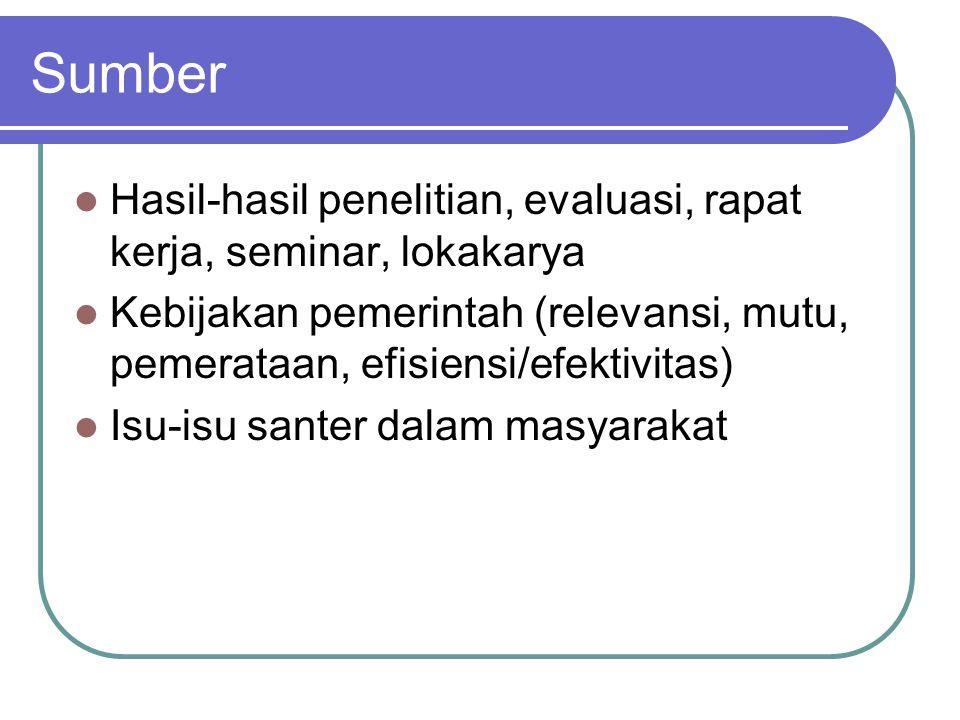 Sumber Hasil-hasil penelitian, evaluasi, rapat kerja, seminar, lokakarya Kebijakan pemerintah (relevansi, mutu, pemerataan, efisiensi/efektivitas) Isu