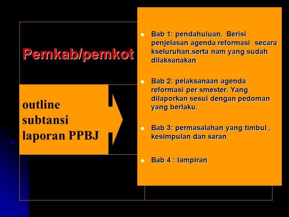 outline subtansi laporan PPBJ Bab 1: pendahuluan. Berisi penjelasan agenda reformasi secara kseluruhan.serta nam yang sudah dilaksanakan Bab 1: pendah