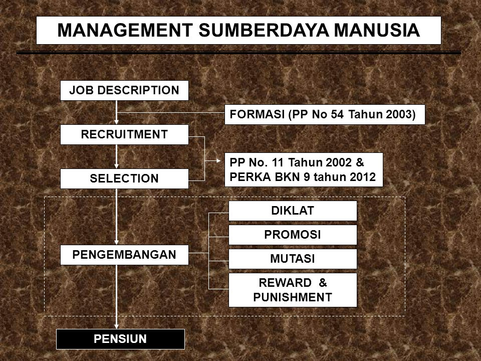 JOB DESCRIPTION RECRUITMENT SELECTION PENGEMBANGAN PENSIUN REWARD & PUNISHMENT PROMOSI DIKLAT MUTASI FORMASI (PP No 54 Tahun 2003) PP No. 11 Tahun 200