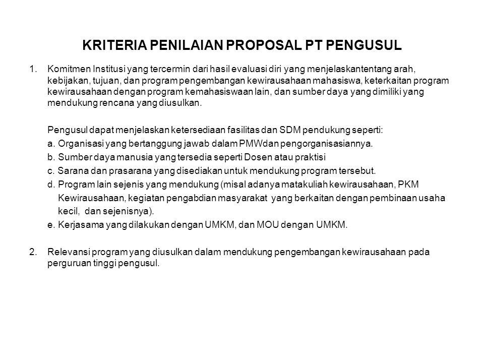 KRITERIA PENILAIAN PROPOSAL PT PENGUSUL 1.