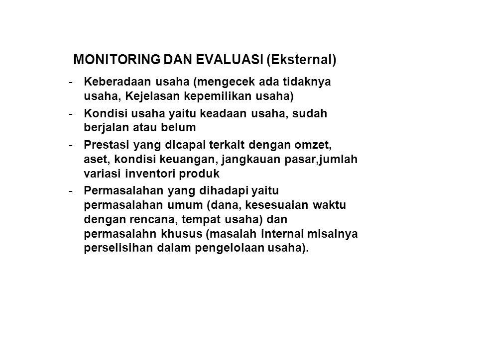 MONITORING DAN EVALUASI (Eksternal) -Keberadaan usaha (mengecek ada tidaknya usaha, Kejelasan kepemilikan usaha) -Kondisi usaha yaitu keadaan usaha, s