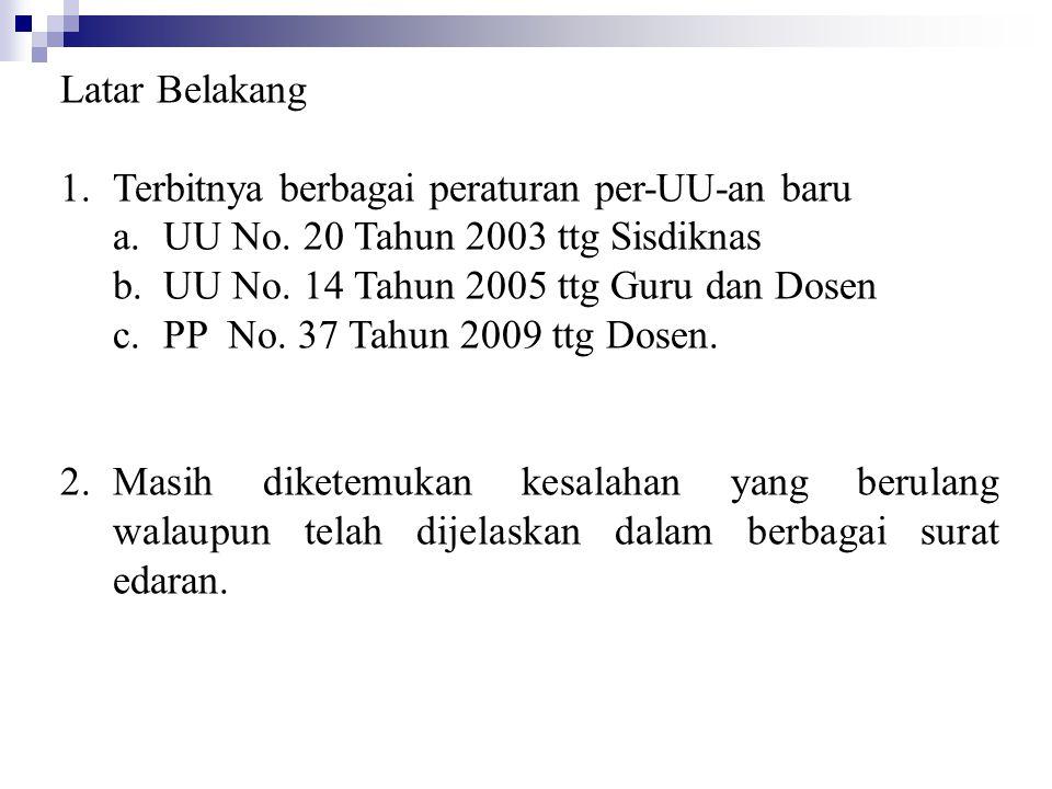 Latar Belakang 1.Terbitnya berbagai peraturan per-UU-an baru a.UU No. 20 Tahun 2003 ttg Sisdiknas b.UU No. 14 Tahun 2005 ttg Guru dan Dosen c.PP No. 3