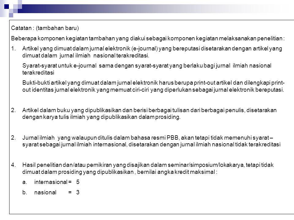 Catatan : (tambahan baru) Beberapa komponen kegiatan tambahan yang diakui sebagai komponen kegiatan melaksanakan penelitian : 1.Artikel yang dimuat da