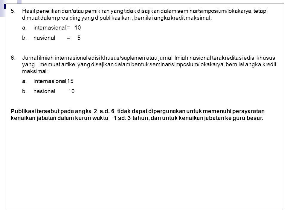 5.Hasil penelitian dan/atau pemikiran yang tidak disajikan dalam seminar/simposium/lokakarya, tetapi dimuat dalam prosiding yang dipublikasikan, berni