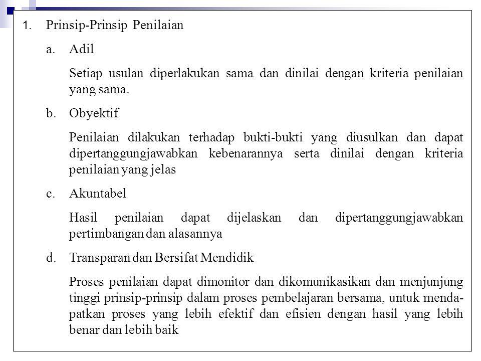 1. Prinsip-Prinsip Penilaian a.Adil Setiap usulan diperlakukan sama dan dinilai dengan kriteria penilaian yang sama. b.Obyektif Penilaian dilakukan te