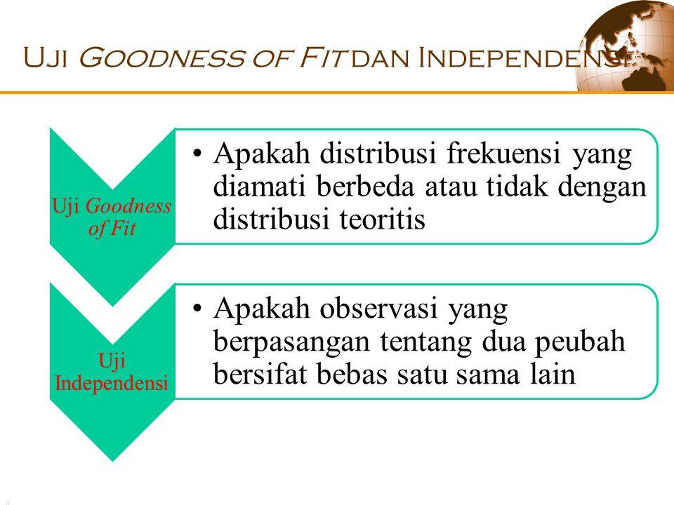 . Uji Goodness of Fit dan Independensi Uji Goodness of Fit Apakah distribusi frekuensi yang diamati berbeda atau tidak dengan distribusi teoritis Uji Independensi Apakah observasi yang berpasangan tentang dua peubah bersifat bebas satu sama lain