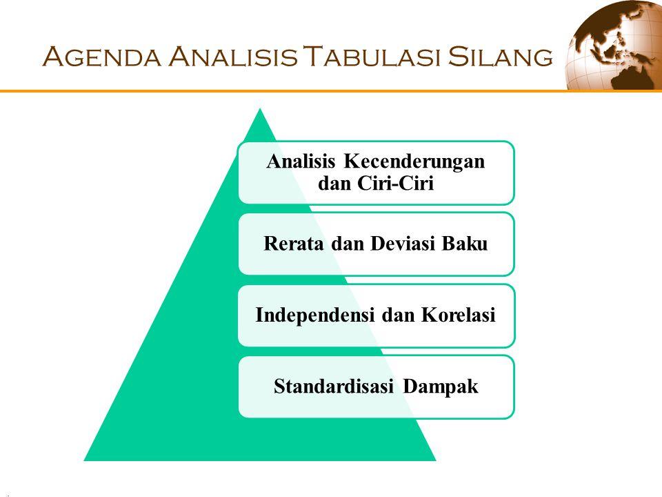 . Agenda Analisis Tabulasi Silang Analisis Kecenderungan dan Ciri-Ciri Rerata dan Deviasi BakuIndependensi dan KorelasiStandardisasi Dampak