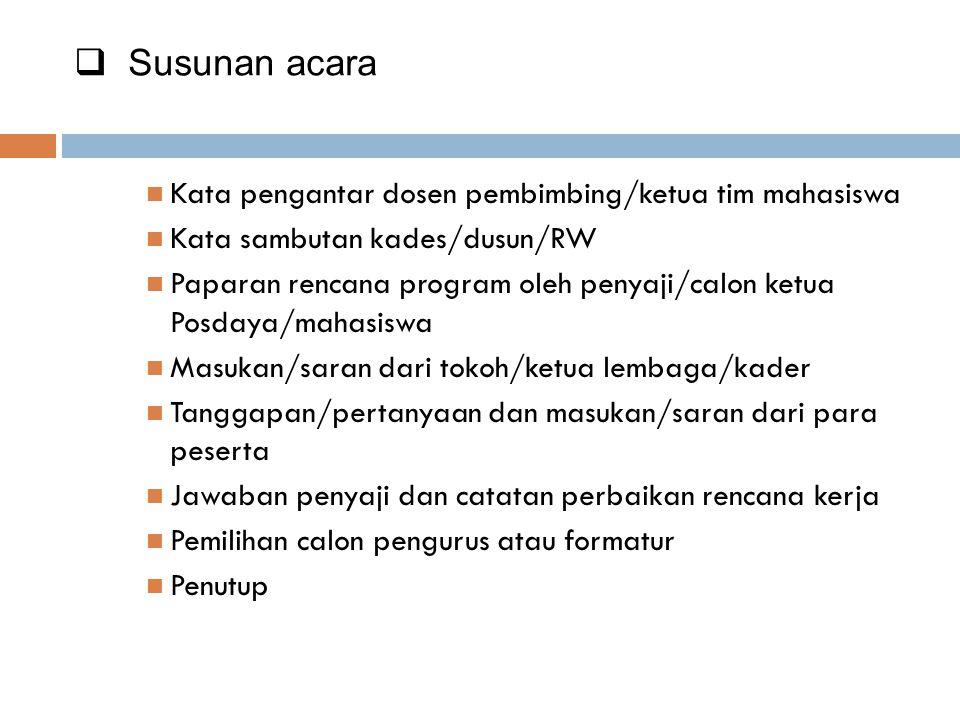 Bahan Lokakarya Mini  Ringkasan Data Penduduk dan Keluarga per Dusun/RW/Lingkungan  Ringkasan Data Potensi Lembaga dan Kader per Dusun/RW/Lingkungan  Data sasaran.