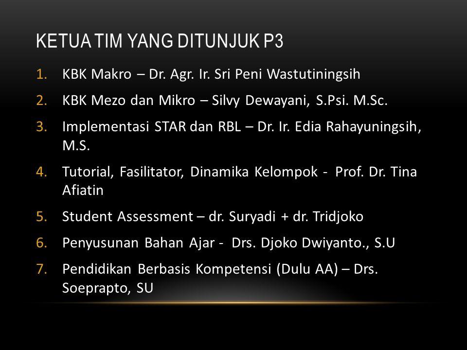 KETUA TIM YANG DITUNJUK P3 1.KBK Makro – Dr. Agr. Ir. Sri Peni Wastutiningsih 2.KBK Mezo dan Mikro – Silvy Dewayani, S.Psi. M.Sc. 3.Implementasi STAR