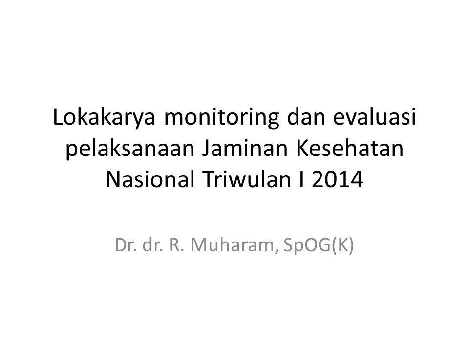 Lokakarya monitoring dan evaluasi pelaksanaan Jaminan Kesehatan Nasional Triwulan I 2014 Dr. dr. R. Muharam, SpOG(K)