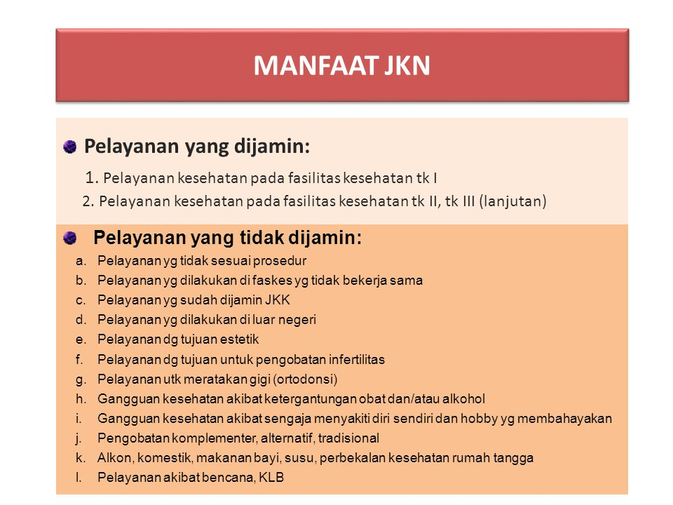 MANFAAT JKN Pelayanan yang dijamin: 1. Pelayanan kesehatan pada fasilitas kesehatan tk I 2. Pelayanan kesehatan pada fasilitas kesehatan tk II, tk III
