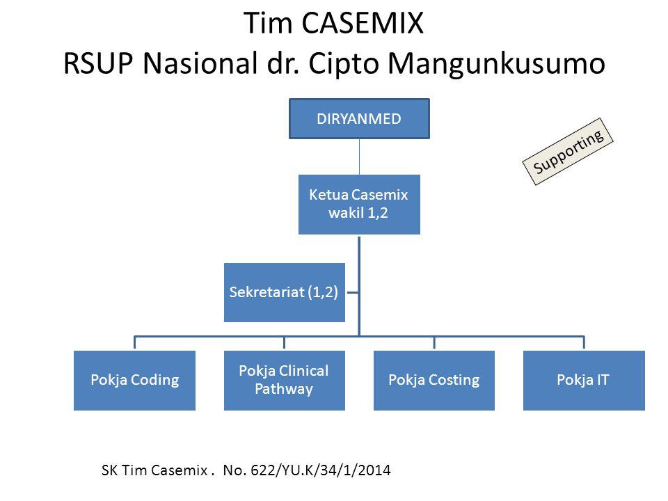 Tim CASEMIX RSUP Nasional dr. Cipto Mangunkusumo Ketua Casemix wakil 1,2 Pokja Coding Pokja Clinical Pathway Pokja CostingPokja IT Sekretariat (1,2) D