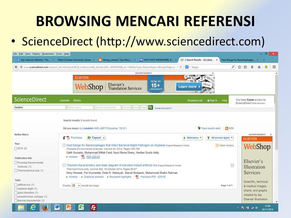 BROWSING MENCARI REFERENSI ScienceDirect (http://www.sciencedirect.com)