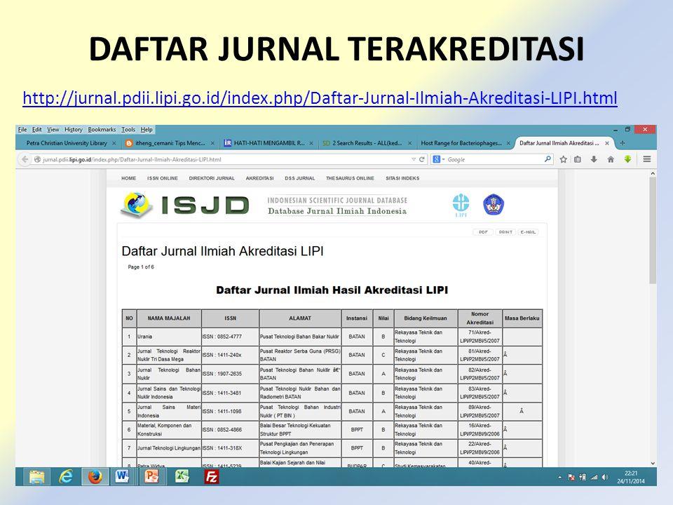 DAFTAR JURNAL TERAKREDITASI http://jurnal.pdii.lipi.go.id/index.php/Daftar-Jurnal-Ilmiah-Akreditasi-LIPI.html