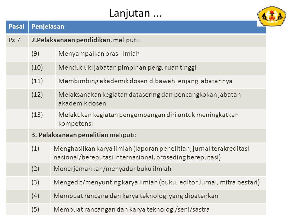 Lanjutan... 10WR2.doc PasalPenjelasan Ps 72.Pelaksanaan pendidikan, meliputi: (9)Menyampaikan orasi ilmiah (10)Menduduki jabatan pimpinan perguruan ti