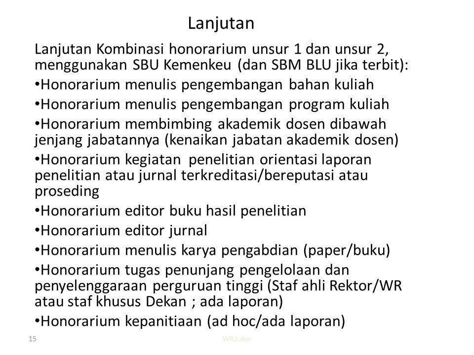 Lanjutan Lanjutan Kombinasi honorarium unsur 1 dan unsur 2, menggunakan SBU Kemenkeu (dan SBM BLU jika terbit): Honorarium menulis pengembangan bahan