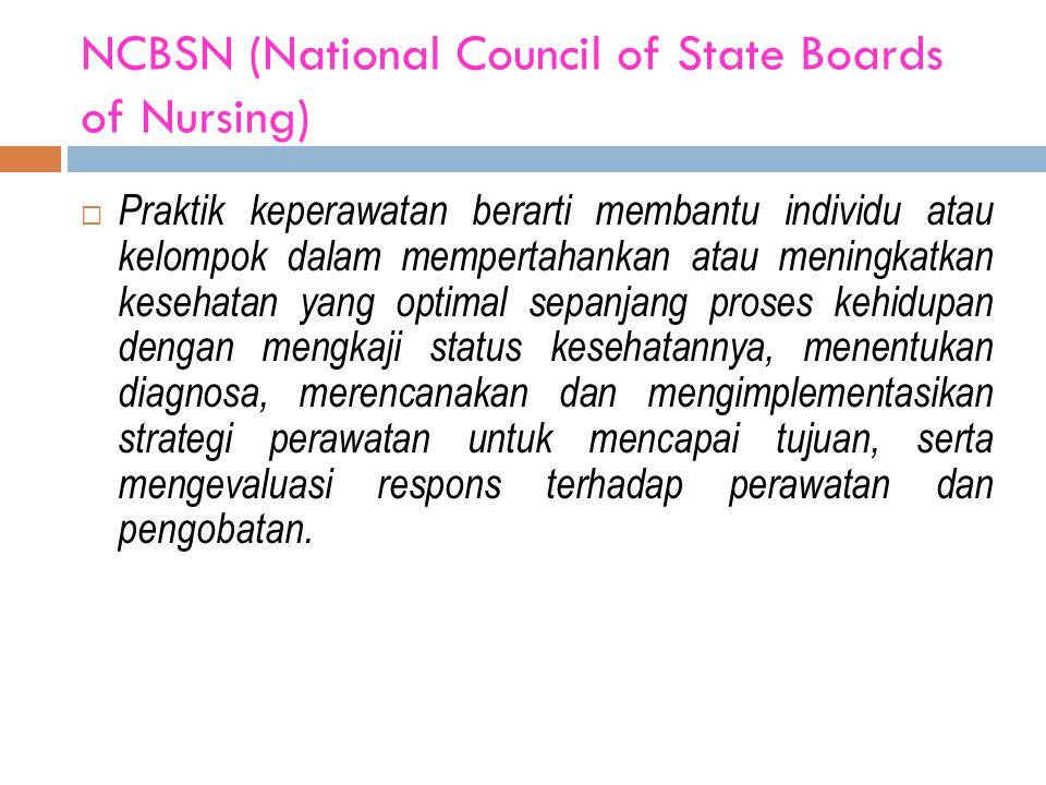 NCBSN (National Council of State Boards of Nursing)  Praktik keperawatan berarti membantu individu atau kelompok dalam mempertahankan atau meningkat