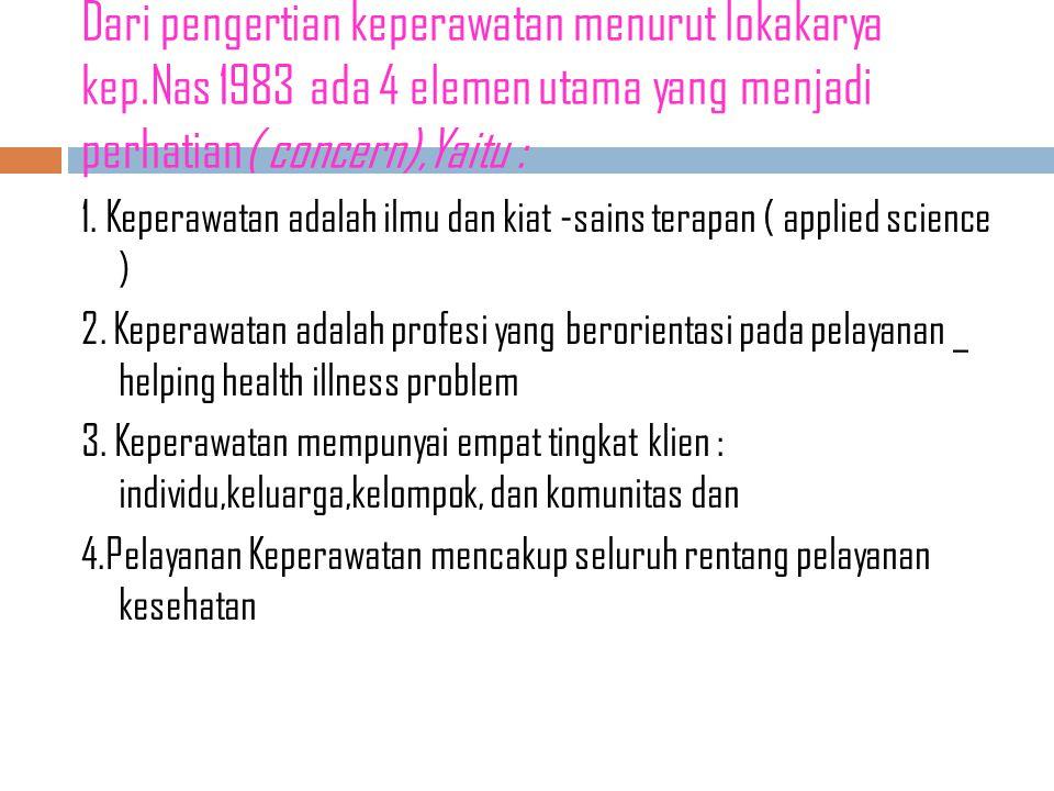 Keperawatan LOKAKARYA NASIONAL tentang KEPERAWATAN bulan JANUARI 1983 di JAKARTA merupakan awal diterimanya KEPERAWATAN SEBAGAI SUATU PROFESI.