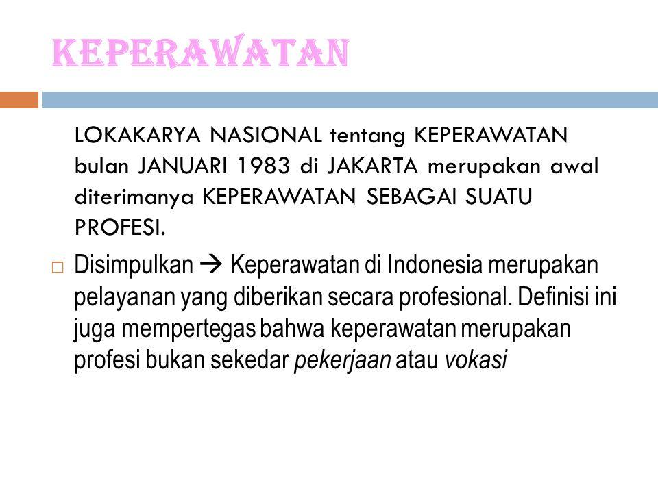 Keperawatan LOKAKARYA NASIONAL tentang KEPERAWATAN bulan JANUARI 1983 di JAKARTA merupakan awal diterimanya KEPERAWATAN SEBAGAI SUATU PROFESI.  Disim