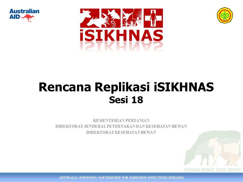 AUSTRALIA INDONESIA PARTNERSHIP FOR EMERGING INFECTIOUS DISEASES KEMENTERIAN PERTANIAN DIREKTORAT JENDERAL PETERNAKAN DAN KESEHATAN HEWAN DIREKTORAT KESEHATAN HEWAN Rencana Replikasi iSIKHNAS Sesi 18