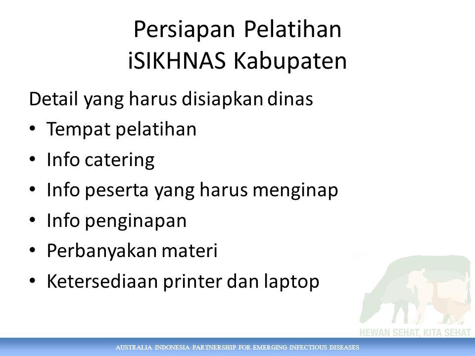 AUSTRALIA INDONESIA PARTNERSHIP FOR EMERGING INFECTIOUS DISEASES Persiapan Pelatihan iSIKHNAS Kabupaten Detail yang harus disiapkan dinas Tempat pelatihan Info catering Info peserta yang harus menginap Info penginapan Perbanyakan materi Ketersediaan printer dan laptop