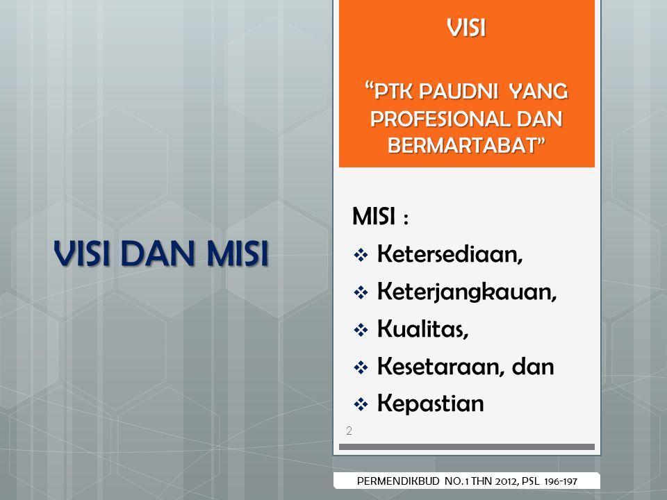 """PERMENDIKBUD NO. 1 THN 2012, PSL 196-197 VISI """" PTK PAUDNI YANG PROFESIONAL DAN BERMARTABAT"""" MISI :  Ketersediaan,  Keterjangkauan,  Kualitas,  Ke"""