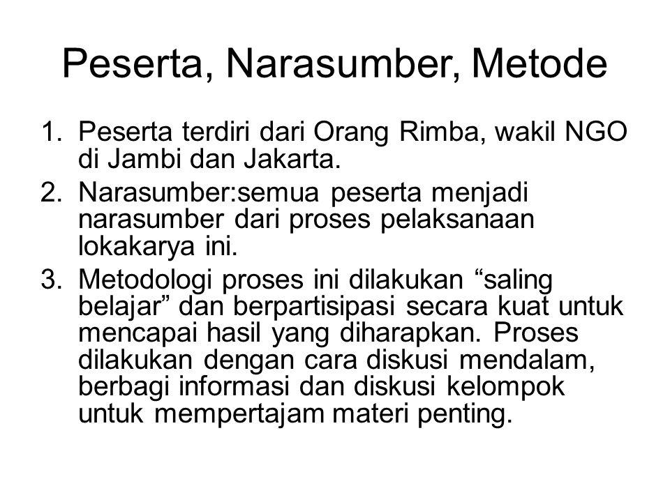 Peserta, Narasumber, Metode 1.Peserta terdiri dari Orang Rimba, wakil NGO di Jambi dan Jakarta. 2.Narasumber:semua peserta menjadi narasumber dari pro